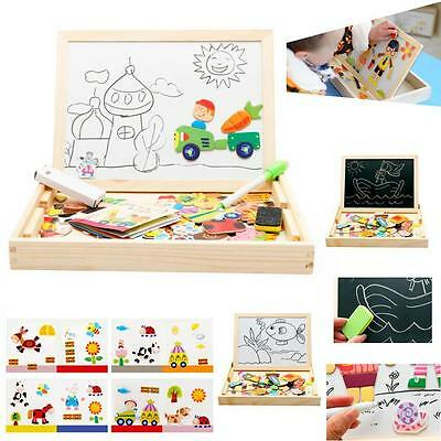 Drawing Writing Board Magnetic Puzzle Double Easel Kid Wooden Sketchpad C# G6