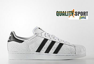 Adidas Superstar Bianco Nero Pelle Uomo Scarpe Shoes Sportive Sneakers AQ8333