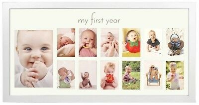Baby's First Year Frame In Elegant White Natural Wood - My First Year Baby For