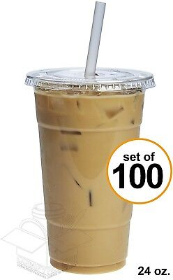 Plastic Crystal Clear Cups Flat Lids 24 Oz 100 Sets Comfy Package Cold Drinks