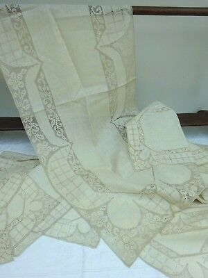 12 x Place Mats 1 x Table Runner Linen Vintage Antique Handmade Embroidery Lace
