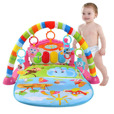 Baby Gym Play Mat Lay & Play 3 in 1 Fitness Music And Lights Fun Piano Pink Set