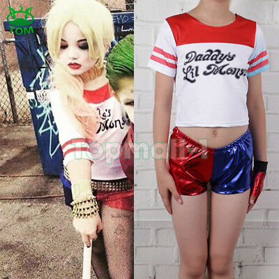 Kids Costume Suicide Squad Harley Quinn Girls Fancy Dress Cosplay Costume Outfit