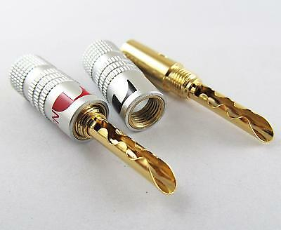 2 x Nakamichi 24K Gold Plated Copper BFA 4mm Banana Plug Male Speaker Connector