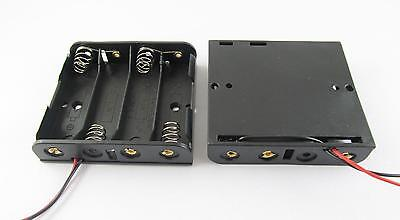 """Battery Holder Box Case 4 x AA/2A Cells 6V With 6"""" Lead Wire Black"""