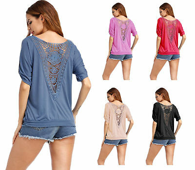 Sexy Women Casual Loose Short Sleeve Lace Baggy T-Shirt Tops Blouse Fashion S-XL