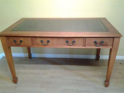 Regency style yew wood  writing table desk blue leather top