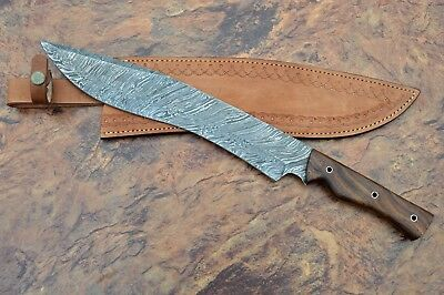 Damascus Steel Blade Hunting Bowie,Machete,Kukri Knife,Rose Wood Handle