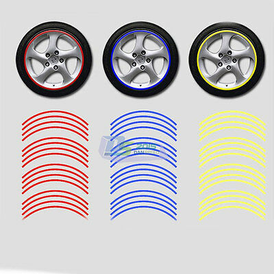 16Pcs 10mm Vinyl Stripes Motorcycle Car Reflective Rim Tape Wheel Tire Stickers