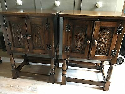 Two Oak Carved Door Bedside Cabinets