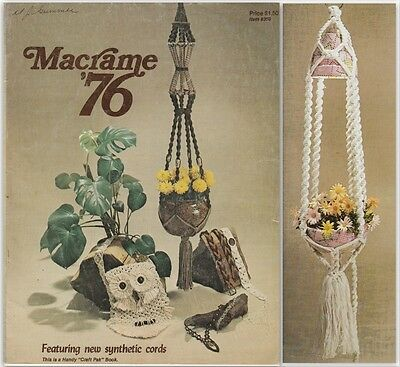 """Vintage 1976 Macrame Pattern Book """" Macrame '76 """" There Are 13 Projects"""