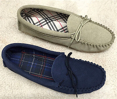 Genuine Suede Moccasin Slippers Hard Sole Women Ladies Navy Beige Sizes 4-8 UK
