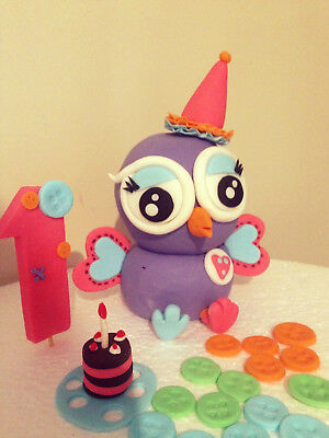 Hootabelle Owl kids Birthday cake topper set fondant Hootable giggle and hoot