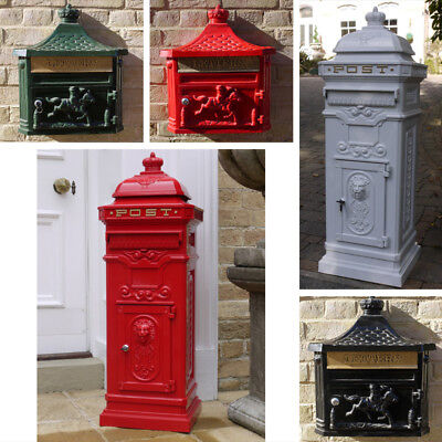 Antique Wall & Free Stand Post Box Cast Aluminium Victorian Style Letter Mailbox