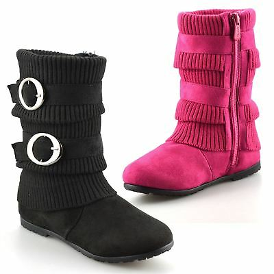 Girls Kids Childrens School Winter Zip Up Casual Biker Mid Calf Boots Shoes Size