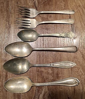 Antique Spoons And Forks Lot Wm.a Rogers Nevada Silver Plated