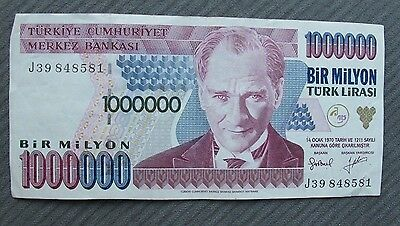 Turkey 1 Million 1000000 Lira 1970. Nice VF inflation note