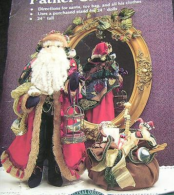 """Ornate Sewing Pattern 24"""" Victorian Father Christmas Doll Decoration Clothes Toy"""