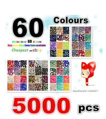 60 COLOURS PACK x 5000 RESIN FLAT BACK RHINESTONES DIAMANTE CRAFT GEMS 3/4/5/6MM