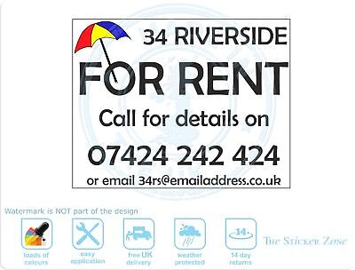 2 x For Rent Static cling sign vinyl sticker
