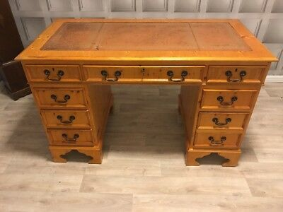 Antique Style Light Brown Leather Top Writing Desk Yew Wood Finish FREE UK P&P