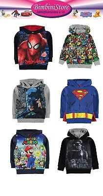 felpa con capuccio Spiderman Avengers Batman Superman  Mario Bros nint Star Wars