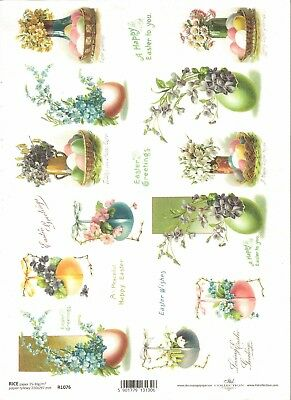 Rice Paper for Decoupage Scrapbooking Easter Eggs Flowers A4 ITD R1077