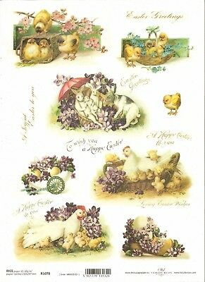 Rice Paper for Decoupage Scrapbooking Easter Chickens Eggs Flowers A4 ITD R842
