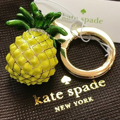 KATE SPADE Jeweled Pineapple CRYSTAL Key Chain Ring Fob Charm NEW NWT Authentic