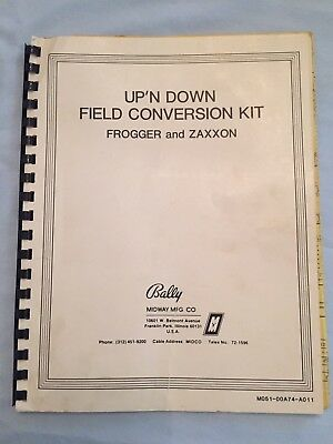 Up'n Down Arcade Field Conversion Kit Instructions Zaxxon & Frogger Bally Midway