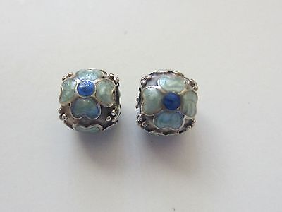 *authentic* Pandora ~Sterling Silver~ 925 Ale ~ Rose Petal ~ Blue Charms *rare*