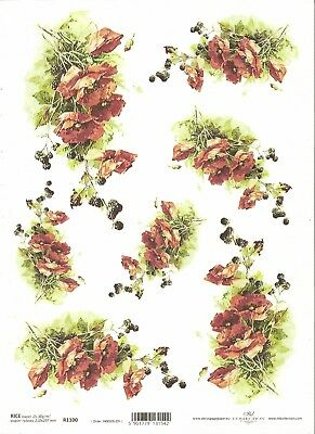 Rice Paper for Decoupage Scrapbooking Poppy Red Flowers A4 ITD R957