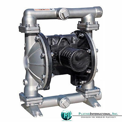 "Industrial 1"" Stainless Steel Air Diaphragm pump with Teflon / PTFE Diaphragms"