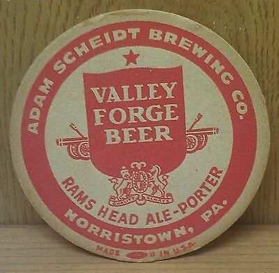 Adam Scheidt Brewing Co. ~  Beer Coaster ~ Morristown, Pa ~ From Old Collection!