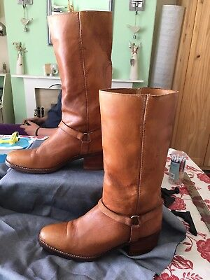 True Vintage Samello Circle Kane Size 9 Brown Leather Mexican Western Long Boot