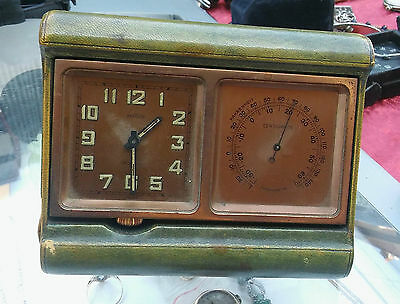 Angelus 8 Day Clock  Thermometer Green  Leather Folding -Swiss Made