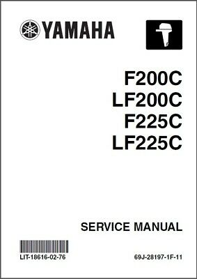 Yamaha F200 LF200 F225 LF225 4-Stroke Outboard Motors Service Manual CD