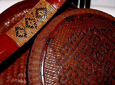 Antique Chinese Handmade Woven Bamboo Basket w/ Bamboo Handle c.1900-1940 Large