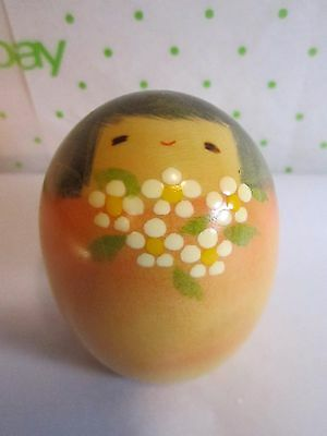 """Japan Kokeshi Wooden Doll Egg Shaped w Label & Makers Mark 3"""" tall"""