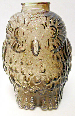 """Vintage Glass Bank """"Wise Old Owl"""" Smoke Colored Figural Coin Piggy Bank"""