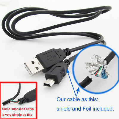 1pc 1M/3.3FT USB 2.0 A Male to Mini 5pin B Male 28AWG Copper Data Charging Cable