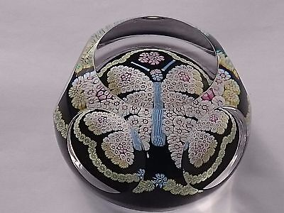Whitefriars Rare Large Butterfly On Dark Blue Ground Glass Paperweight