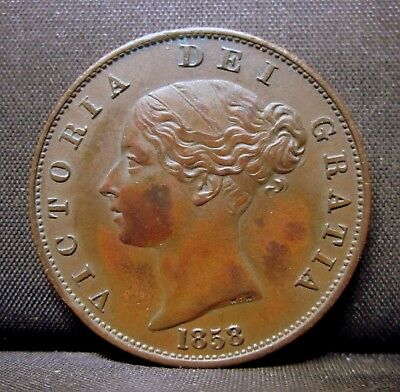 1858 Great Britain Halfpenny ✪ Xf Extra Fine ✪ England Km 726 Uk Gb ◢Trusted◣
