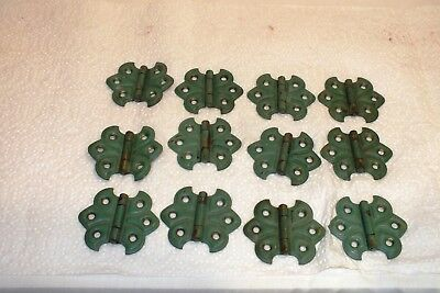 12 Vintage Painted Brass Cabinet Hinges