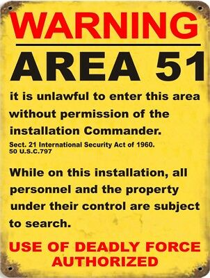"Vintage Retro Reproduction Area 51 DO NOT ENTER Warning Metal Sign 9""x12"""
