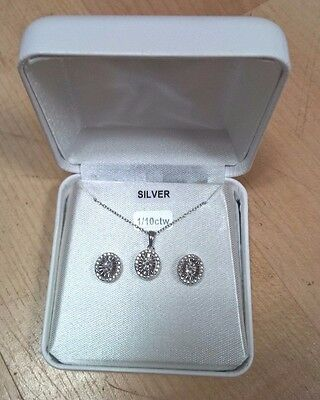 1/2 Ct Tw. Diamond 2 Piece Pendant & Earrings Round Set Sterling Silver New