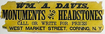 Antique 1880 19th Century Paper ADVERTISING SIGN Monuments HEADSTONES Corning NY