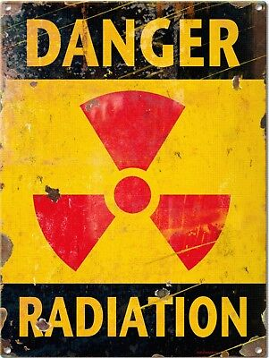 Vintage Retro Reproduction Danger Radiation Do Not Enter Warning Metal Sign 9x12
