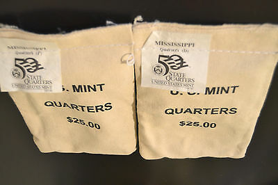 2002 Mississippi P&D States Quarter US Mint Sewn Bags $25 each - Unopened