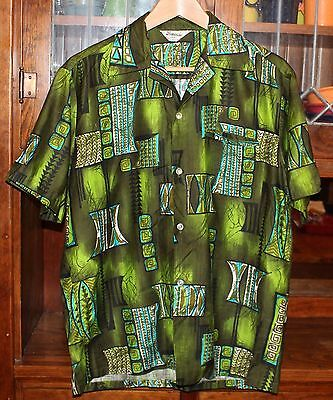 vintage men's tropicana hawaiian shirt sz med M green turquoise gaudy